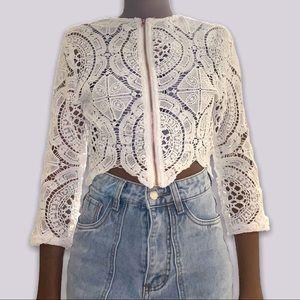 crochet white fox zip up